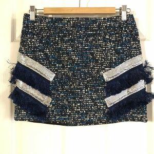 ENDLESS ROSE Revolve Tweed Fringe Short Skirt NWOT